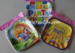 Set 10 đĩa giấy sinh nhật hình vuông