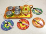 Bộ đồ chơi ấm trà inox hoa văn 18 món