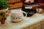 Cốc sứ mặt mèo đen/ trắng