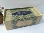Hộp giấy ăn sắt HCN – Hoa văn vintage xanh