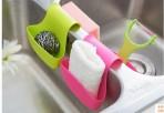 Giá để xà phòng và búi rửa bát silicon vắt ngang