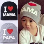 Mũ cotton I love Mama, I love Papa