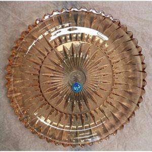 Khay thủy tinh tròn ánh vàng 30cm